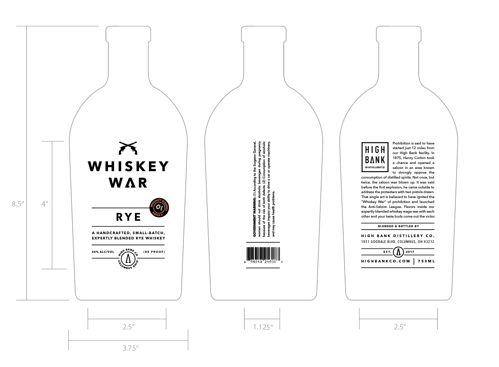 Whiskey War is a blended rye heavy mash whiskey from High Bank Distillery Co. in Columbus, OH.